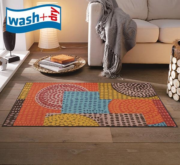 玄関マット wash+dry C013B Ethno Pop 75×120cm 柄物 おしゃれ 滑り止めラバーつき(代引不可)【送料無料】
