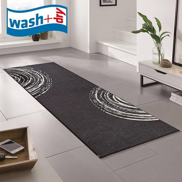 キッチンマット wash+dry D015C Swirl 60×180cm 柄物 おしゃれ 滑り止めラバーつき(代引不可)【送料無料】