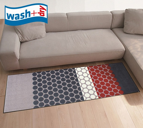 J008C 滑り止めラバーつき(代引不可)【送料無料】 wash+dry Dots grey Mixed キッチンマット おしゃれ 柄物 60×180cm