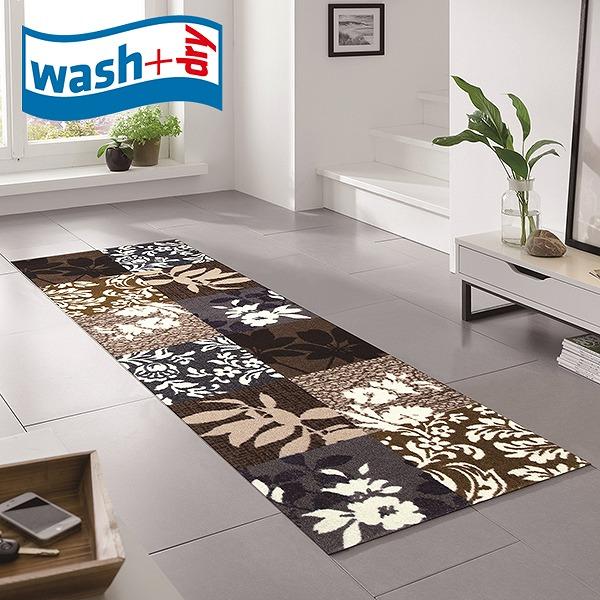 キッチンマット wash+dry K002C Mystic Leaves 60×180cm 柄物 おしゃれ 滑り止めラバーつき(代引不可)【送料無料】