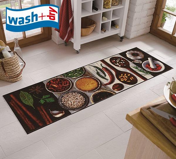 キッチンマット wash+dry B016C Hot Spices 60×180cm 柄物 おしゃれ 滑り止めラバーつき(代引不可)【送料無料】