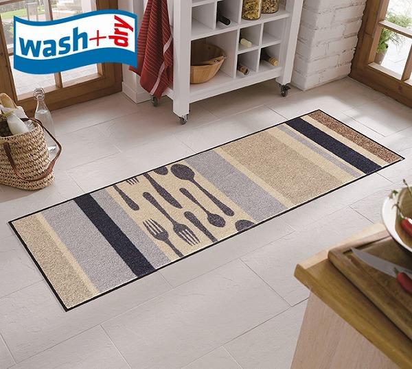 キッチンマット wash+dry B017C Cubierto 60×180cm 柄物 おしゃれ 滑り止めラバーつき(代引不可)【送料無料】
