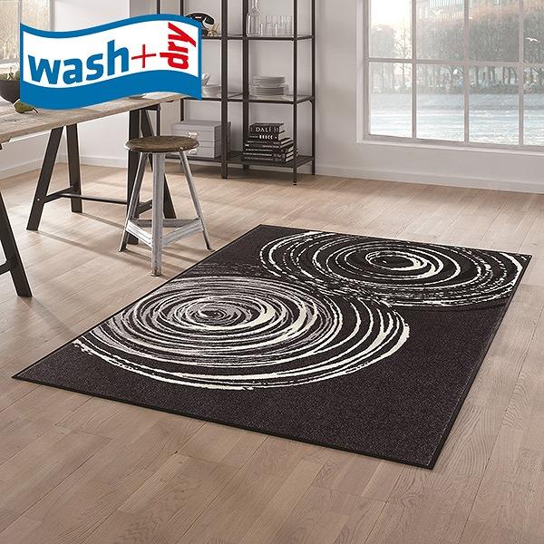 ラグマット wash+dry D017I Swirl 110×175cm 柄物 おしゃれ 滑り止めラバーつき(代引不可)【送料無料】