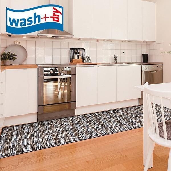 キッチンマット wash+dry D019F Corretto nature 60×260cm 柄物 おしゃれ 滑り止めラバーつき(代引不可)【送料無料】