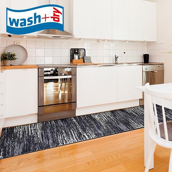 キッチンマット wash+dry D023F Scratchy grey 60×260cm 柄物 おしゃれ 滑り止めラバーつき(代引不可)【送料無料】