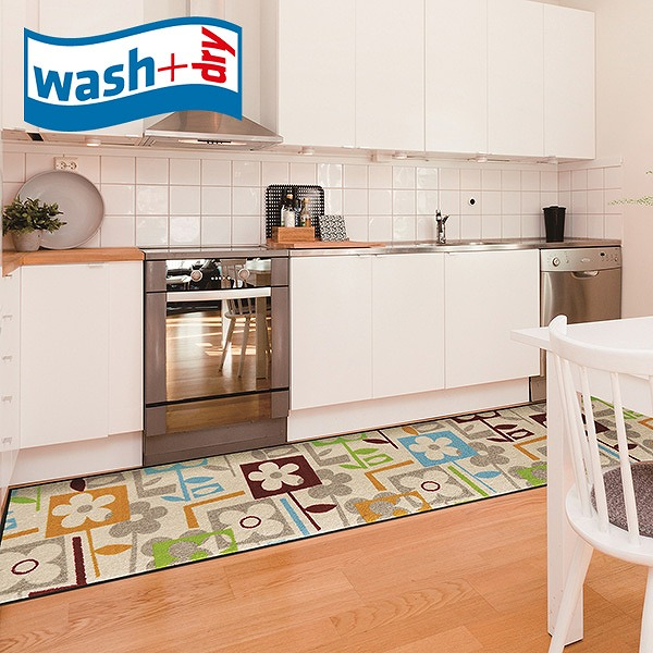キッチンマット wash+dry E015F Flourish 60×260cm 柄物 おしゃれ 滑り止めラバーつき(代引不可)【送料無料】