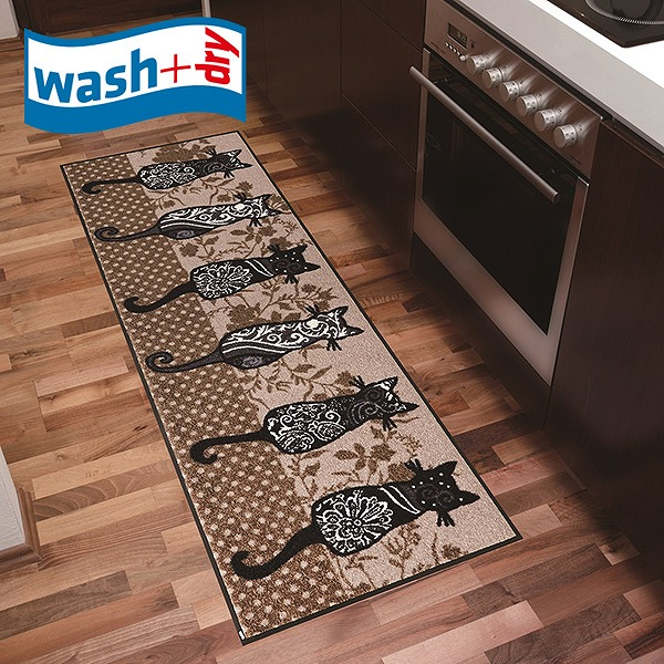 キッチンマット wash+dry G025C Katzenbande 60×180cm 柄物 おしゃれ 滑り止めラバーつき(代引不可)【送料無料】