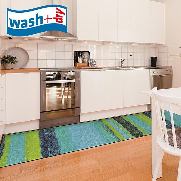 キッチンマット wash+dry J014F Medley beige 60×260cm 柄物 おしゃれ 滑り止めラバーつき(代引不可)【送料無料】