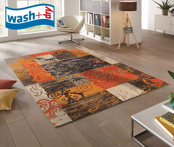 ラグマット wash+dry K012I Nostalgia 110×175cm 柄物 おしゃれ 滑り止めラバーつき(代引不可)【送料無料】