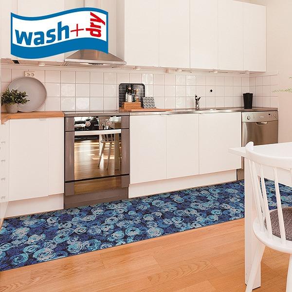 キッチンマット wash+dry K014F Punilla blue 60×260cm 柄物 おしゃれ 滑り止めラバーつき(代引不可)【送料無料】