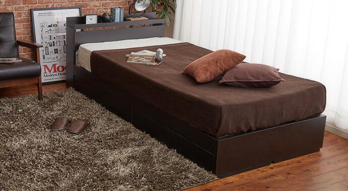 ベッド シングル マットレス付き フレーム 収納付きベッド シングル 【超高密度ハイグレードポケットコイルマットレス】(代引不可)【送料無料】