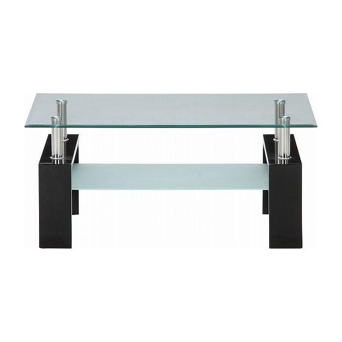 センターテーブル フォーカス W1000×D600×H450mm 強化ガラス スチール おしゃれ ブラック(代引不可)【送料無料】