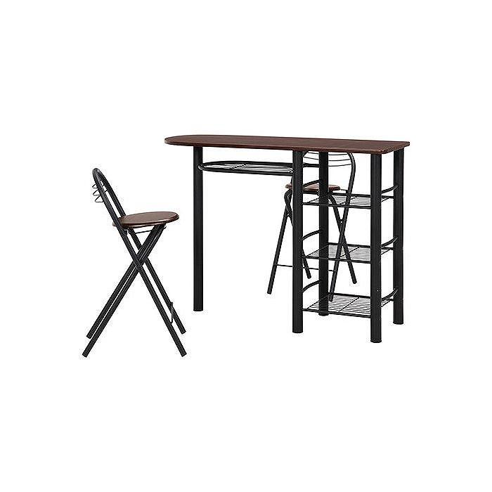 カウンターテーブル&チェアーセット W1200×D400×H875mm スチール MDF(PVC) おしゃれ ブラウン/ブラック(代引不可)【送料無料】