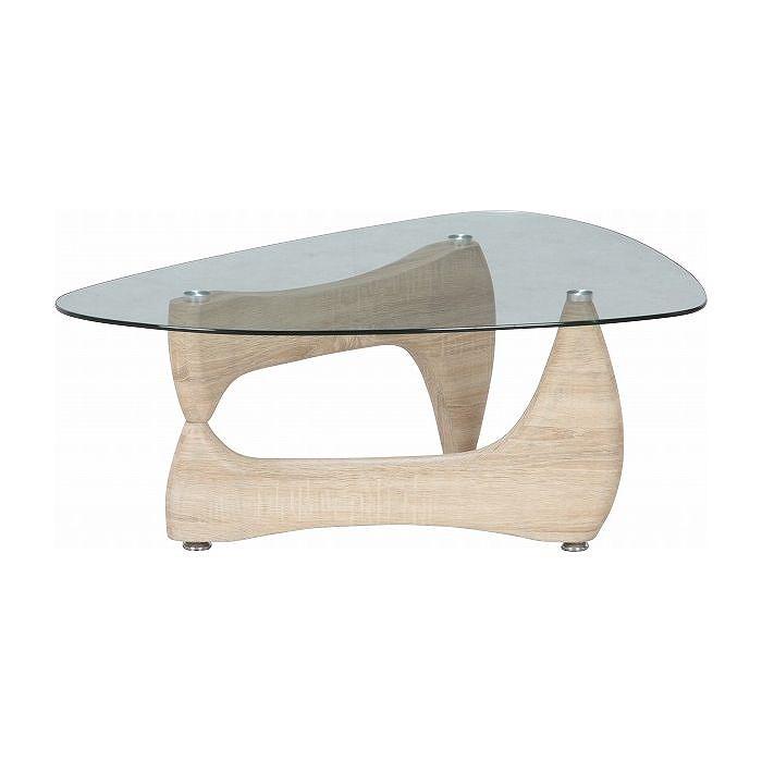 ガラスセンターテーブル W1000×D750×H405mm MDF 強化ガラス おしゃれ ホワイトオーク(代引不可)【送料無料】