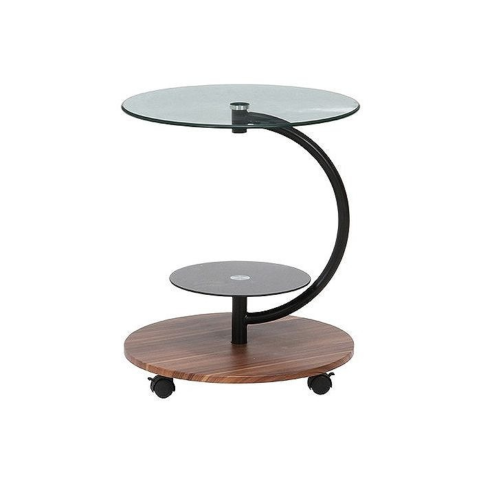ガラスラウンドテーブル マーブル W500×D500×H600mm 強化ガラス スチール おしゃれ ダークブラウン(代引不可)【送料無料】