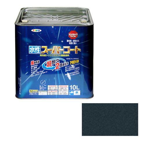 アサヒペン 多用途-水性スーパーコート 10L-ギンクロ【送料無料】