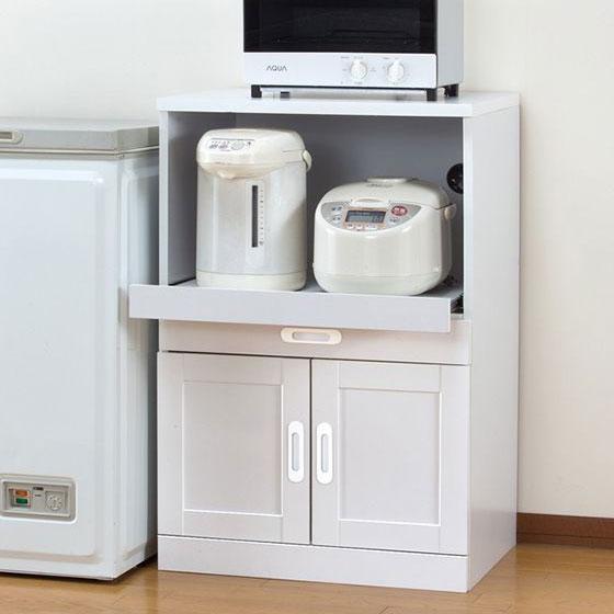 レンジ台 木製 スライド棚付き レンジ台 ロータイプ 幅60cm キッチン 収納 レンジラック 食器棚(代引不可)【送料無料】