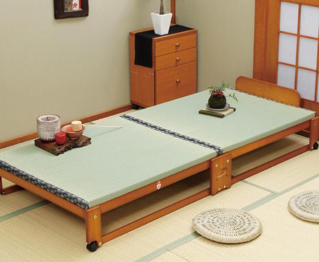 ベッド 中居木工 らくらく 折りたたみ式 畳ベッド シングル 日本製 桧 ひのき ベッド すのこ ローベッド 木製 ベッド下収納(代引不可)【送料無料】