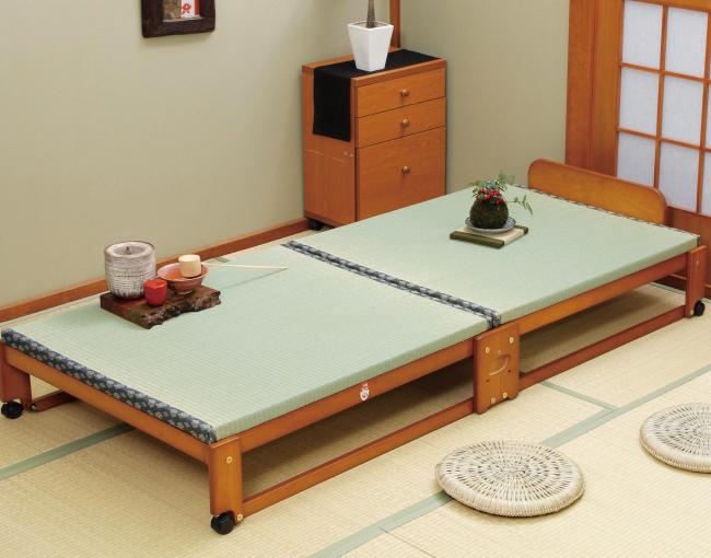ベッド 中居木工 らくらく折りたたみ式 畳ベッド ワイド 日本製 桧 ひのき ベッド すのこ ローベッド 木製 ベッド下収納(代引不可)【送料無料】