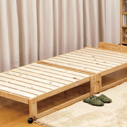 ベッド 中居木工 らくらく 折りたたみ式 桧 すのこベッド シングル 日本製 桧 ひのき ベッド すのこ ローベッド 木製(代引不可)【送料無料】