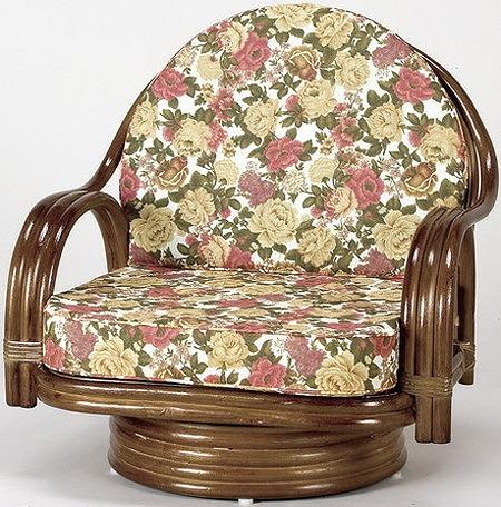 座椅子 天然籐回転チェア ミドルタイプ 回転座椅子 籐 天然籐 回転 椅子 チェアー イス 高座椅子(代引不可)【送料無料】