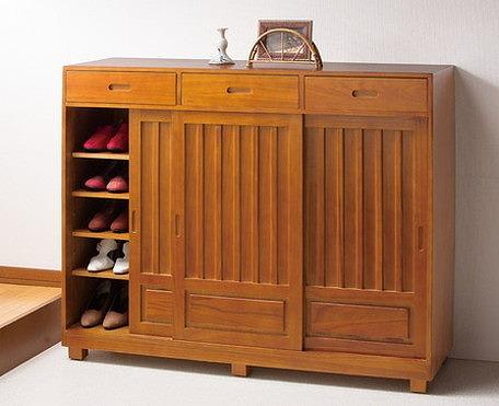 シューズボックス 天然木 和風引戸シューズボックス 3枚扉 靴収納 シューズラック シューズ収納 玄関 収納(代引不可)【送料無料】