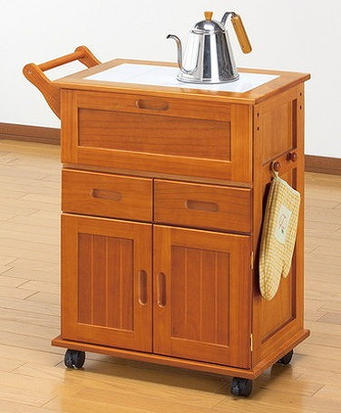 キッチンワゴン 天然木 フラップ式キッチンワゴン キッチン収納 キッチンワゴン キャスター付き(代引不可)【送料無料】
