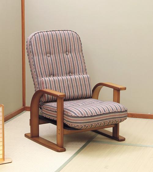 中居木工 高座椅子 日本製 ゆったり座れる 天然木 リクライニング高座椅子 リクライニングチェア 座椅子(代引不可)【送料無料】