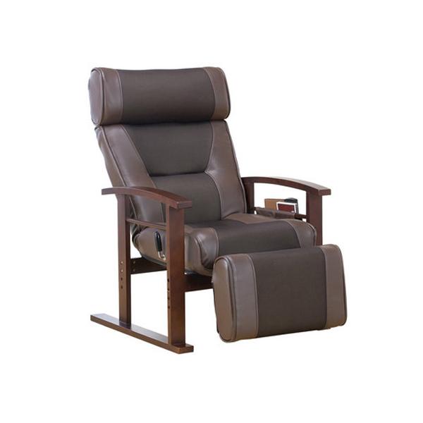 高座椅子 ヘッド&フットレスト付き リクライニング高座椅子 座椅子 リクライニングチェア 収納ポケット付き 天然木(代引不可)【送料無料】