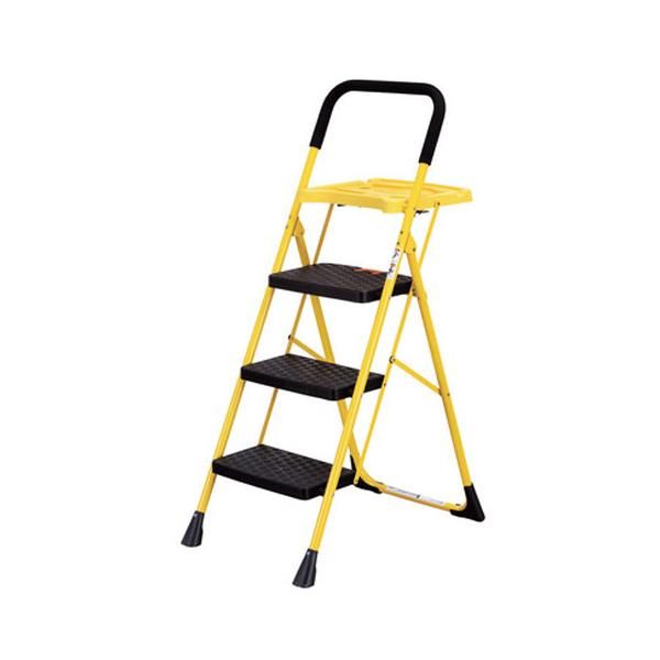 脚立 3段 トレー付き脚立3段 はしご 踏み台 ステップ台 トレー付き 梯子 3段(代引不可)【送料無料】