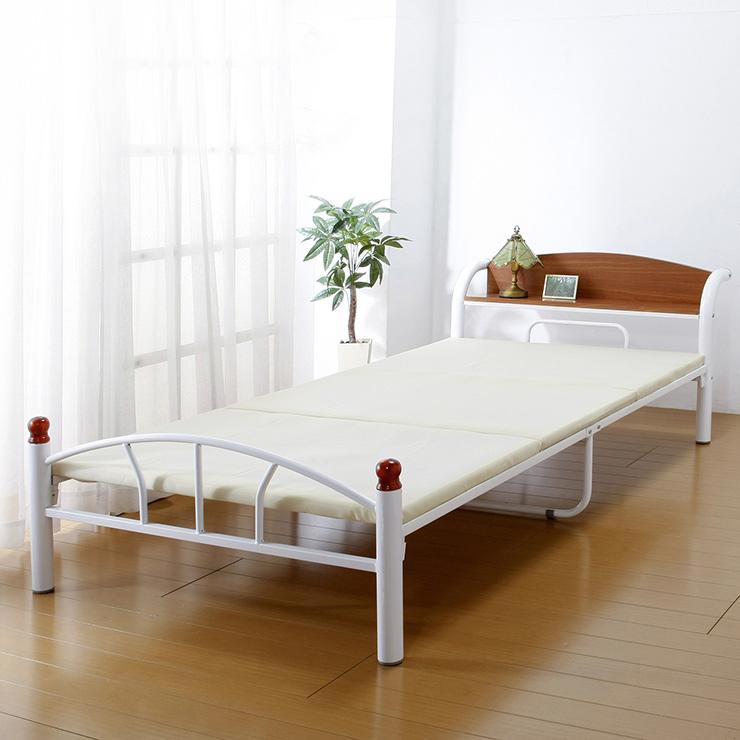 ベッド 木製 棚付き パイプベッド シングル 引き出しなしタイプ ホワイト ベッド 宮棚 シンプル(代引不可)【送料無料】