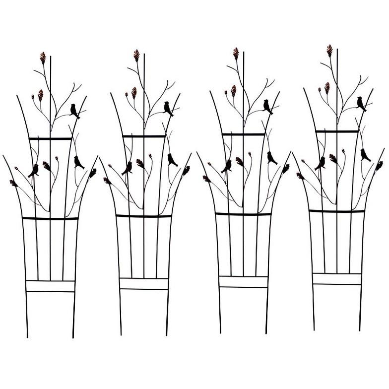 トレリス リーフ&バード 4枚組 鳥 どんぐり フェンス 目隠し アイアン ガーデンフェンス ガーデニング 枠 柵 仕切り 境目(代引不可)【送料無料】