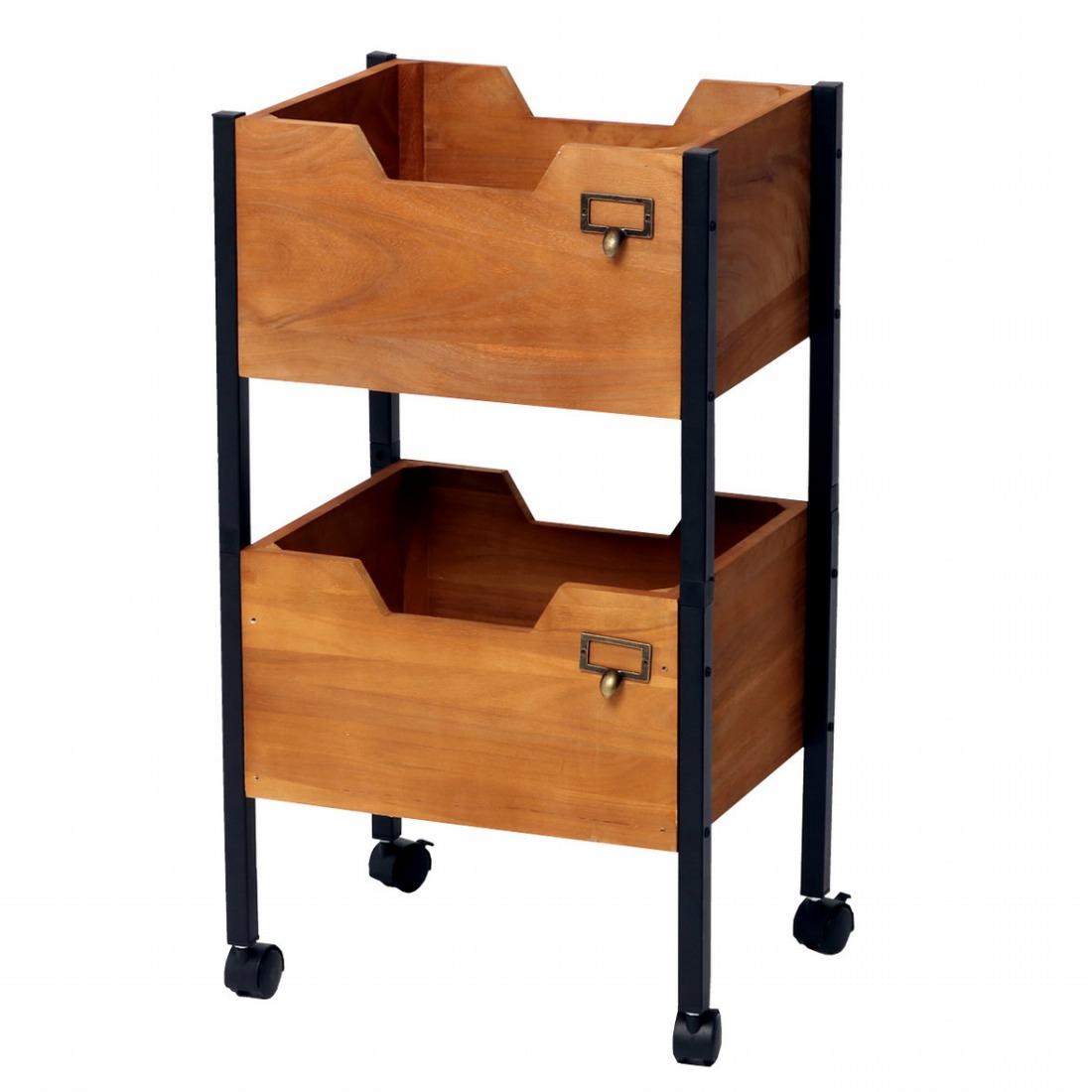 天然木製スタッキングボックス「Raku-en」2段セット 簡単組立 収納 キャスターアンティーク モダン ナチュラル(代引不可)【送料無料】