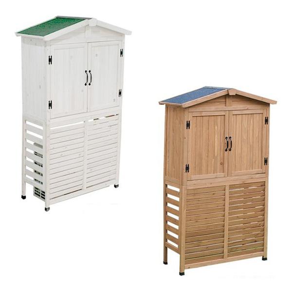 三角屋根収納庫付き室外機カバー ライトブラウン ホワイト カバー ボックス おしゃれ(代引不可)【送料無料】