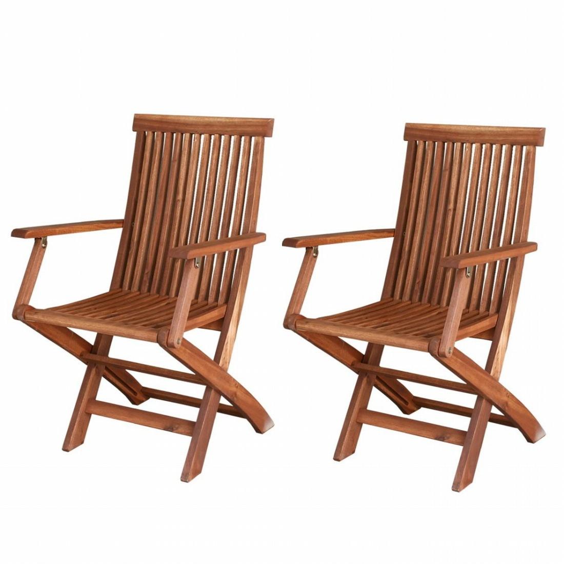 ガーデンチェア(肘付) 2脚セット 木製 天然木 庭 ベランダ おしゃれ 北欧 ガーデン 屋外 ピクニック キャンプ(代引不可)【送料無料】