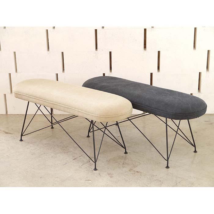 【MARV/マーヴ】 ベンチ 椅子 イス チェア ソファー クッション コットン シンプル ベージュ ダークグレイ(代引不可)【送料無料】