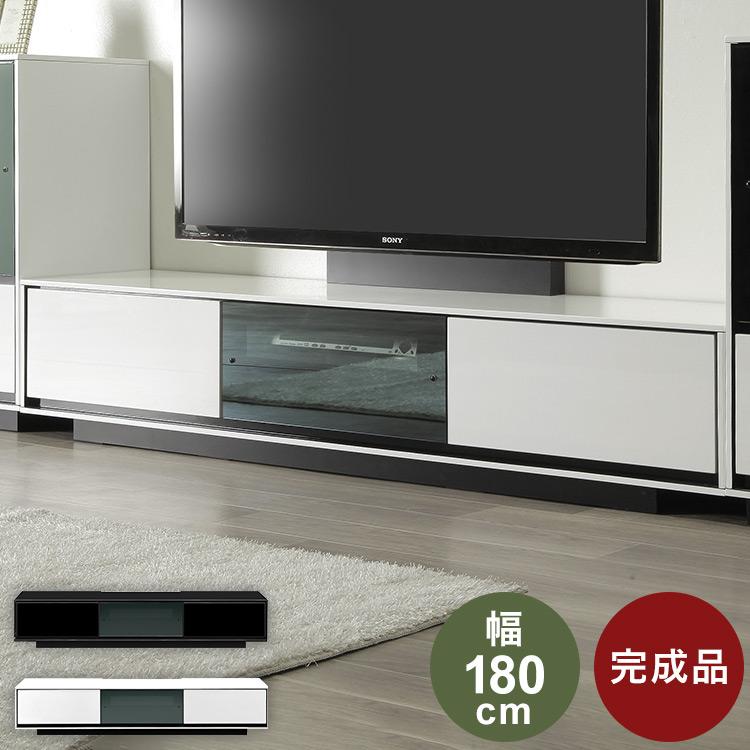 ローボード テレビ台 幅180 奥行42 高さ35 完成品 UV塗装 4mmハーフミラーガラス リベロ 180 ホワイト ブラック 収納 おしゃれ(代引不可)【送料無料】【S1】