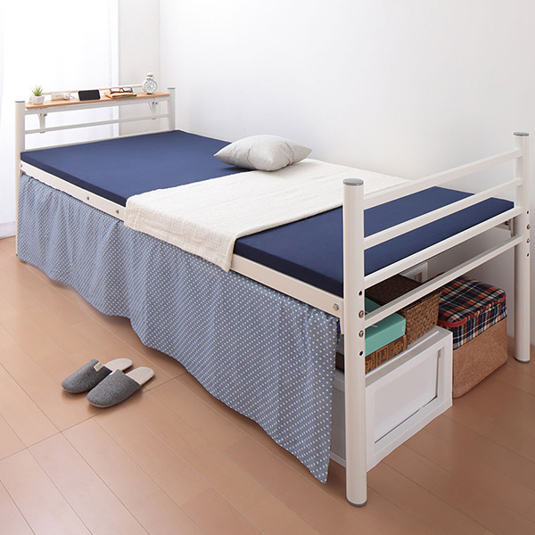ベッド シングル フレーム 収納 高さ調節 高さ調整 高さが選べる 宮付き 棚付き パイプミドルベッド 【CLEV】クレブ 宮棚あり シングルサイズ(代引不可)【送料無料】