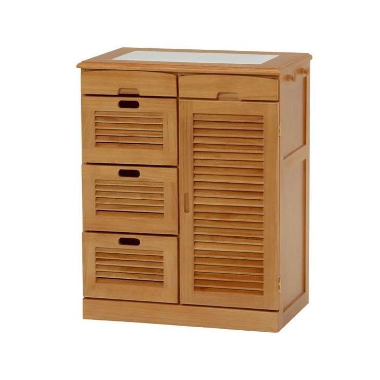 キッチンカウンター キッチン収納 キッチンラック 木製 おしゃれ サイドチェスト キャスター付き MUD-6817LBR(代引不可)【送料無料】【storage0901】