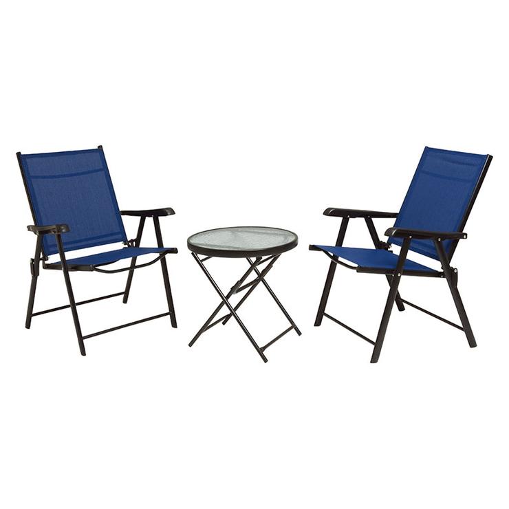 萩原 テーブルチェアセット LGS-4682S-NV 折りたたみ式 ガーデンチェア ガーデンテーブル(代引不可)【送料無料】