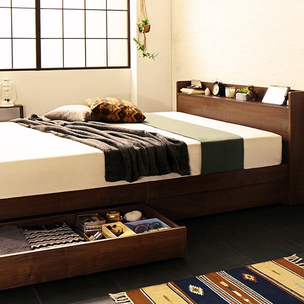 ベッド シングル フレーム 棚 コンセント付引出収納ベッド Fenrir フェンリル シングル フレームのみ(代引不可)