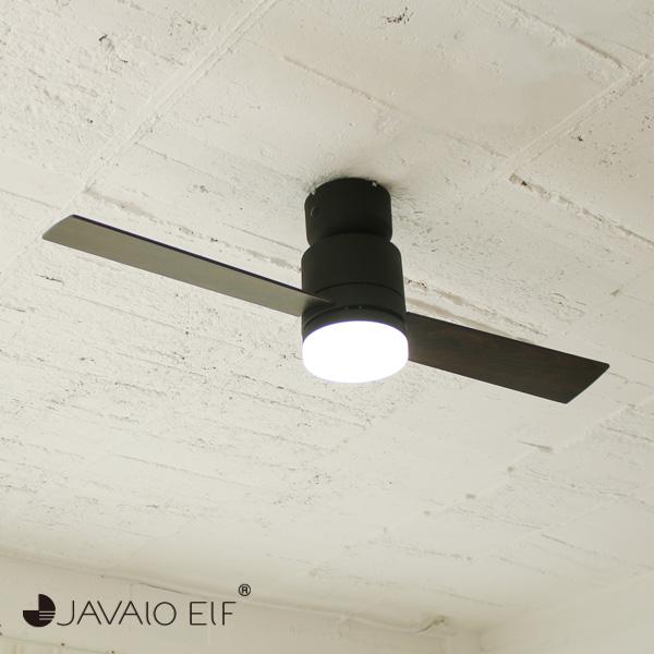 JAVALO ELF Modern Collection LEDシーリングファン 2 blades style ブラック JE-CF005M-BK おしゃれ モダン 天井照明 節電 エコ(代引不可)【送料無料】