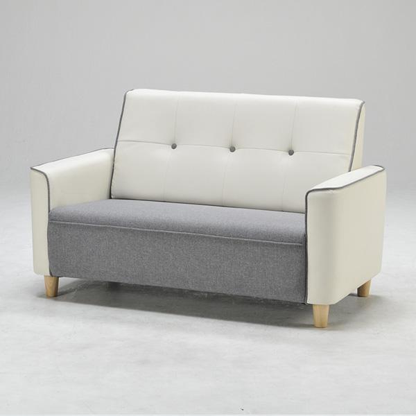 ソファ 2人掛け 2P ソファー sofa PVC ウレタン ツートンカラー おしゃれ 北欧 おしゃれ 和 椅子 いす ブルー(代引不可)【送料無料】