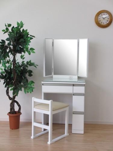 一生紀 ドレッサー&チェア 3面鏡 幅60cm(ホワイト)【チェア付き 3面鏡ドレッサー】(代引き不可)【送料無料】