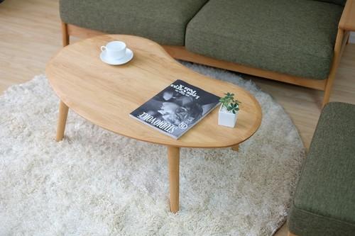 一生紀 テーブル 幅100cm(ナチュラル)【ビーンズ型センターテーブル】(代引き不可)【送料無料】