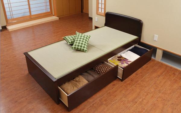 引出 収納付き 畳ベッド パネルタイプ セミダブル(代引不可)【送料無料】
