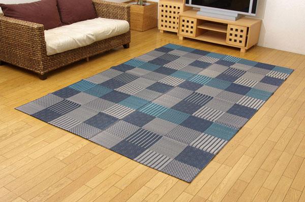 純国産 い草花ござカーペット 『京刺子』 ブルー 本間10畳(約477×382cm)【送料無料】【代引き不可】