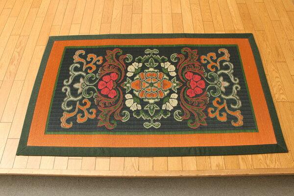 純国産 袋五重織い草マット 『華紋草』 約88×150cm(裏:不織布)(代引不可)【送料無料】