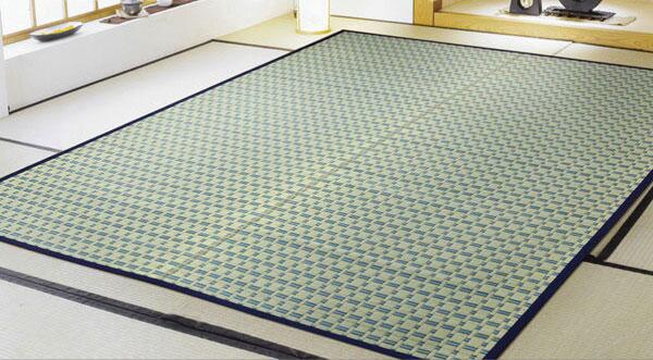 掛川織 い草カーペット 『雲仙』 ブルー 江戸間6畳(約261×352cm)(代引不可)【送料無料】