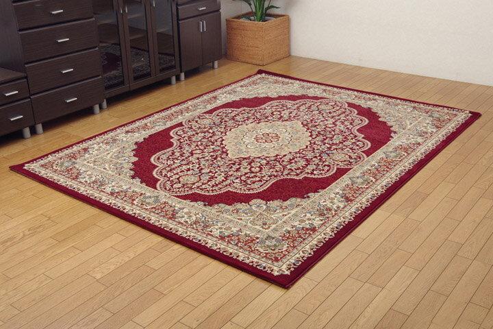 トルコ製 ウィルトン織り カーペット 『ベルミラ RUG』 ワイン 160x230cm(代引不可)【送料無料】